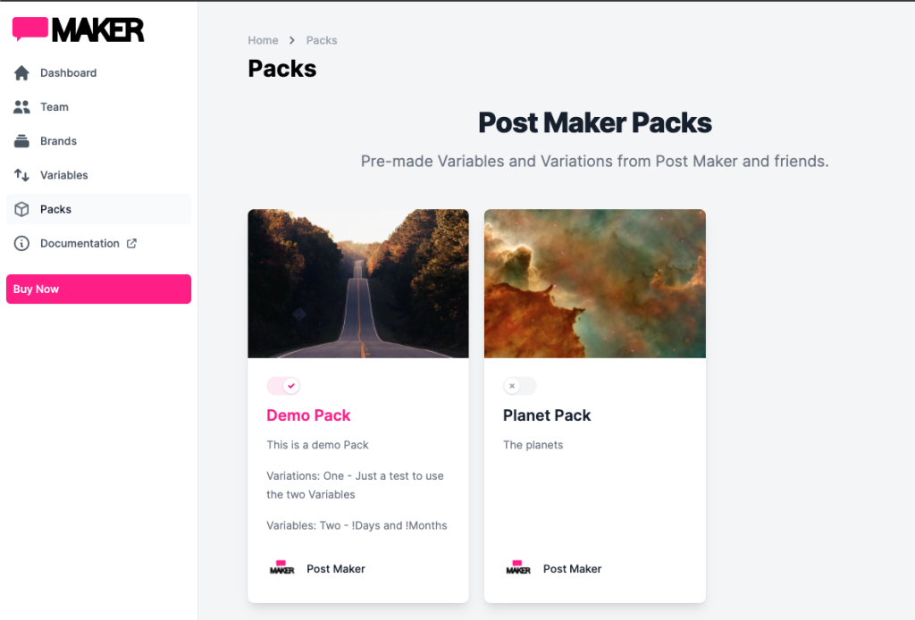 Image showing the Packs available to add to a Post Maker Account